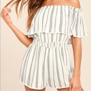 Lulu's white and blue off the shoulder romper